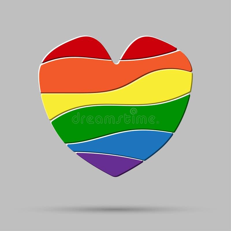 Lgbt心脏爱元素 旗子自豪感同性恋者 皇族释放例证