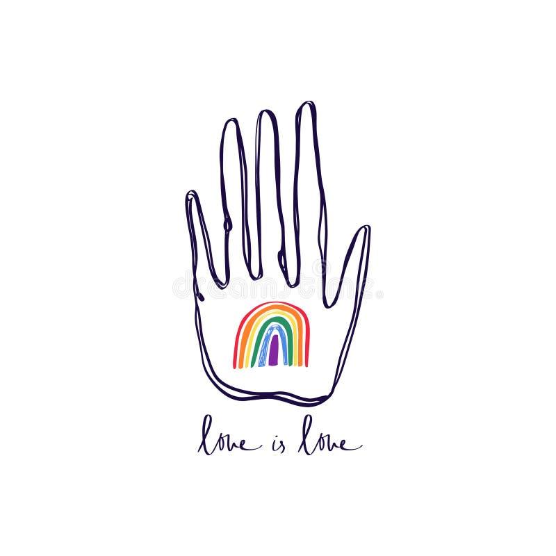 LGBT手,停止同性恋恐惧症,与手拉的彩虹,人权遵守的手印刷品 女同性恋,快乐,两性,trans和 库存例证