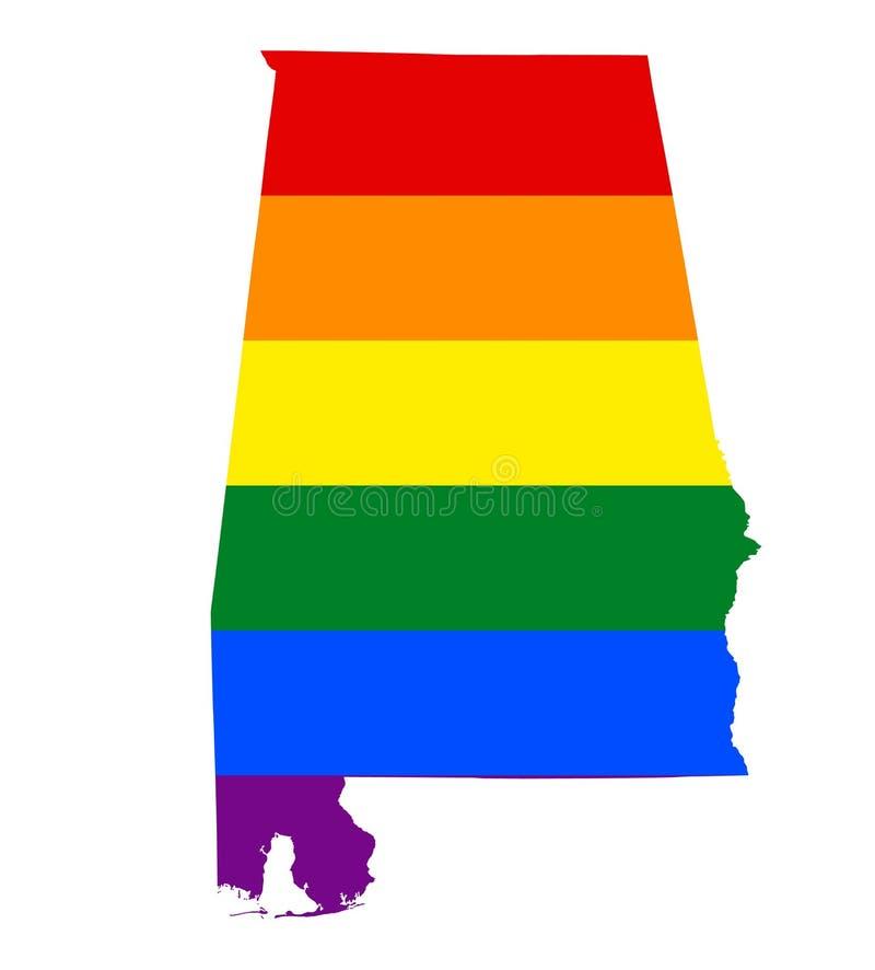 LGBT旗子地图 传染媒介在LGBT女同性恋者,快乐,两性和变性自豪感旗子的颜色的彩虹地图 库存例证