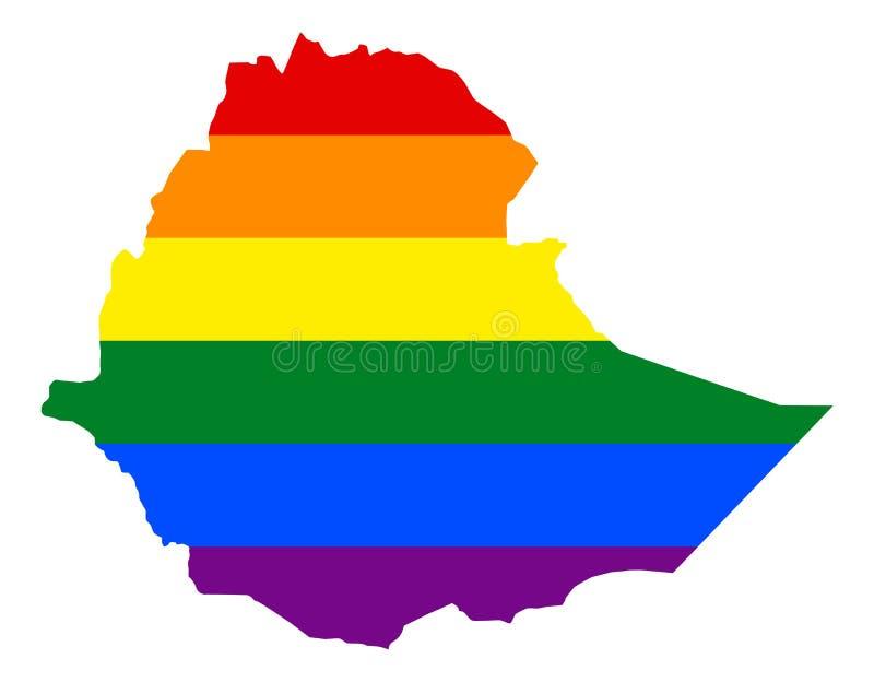LGBT旗子地图 传染媒介在LGBT女同性恋者,快乐,两性和变性自豪感旗子的颜色的彩虹地图 皇族释放例证