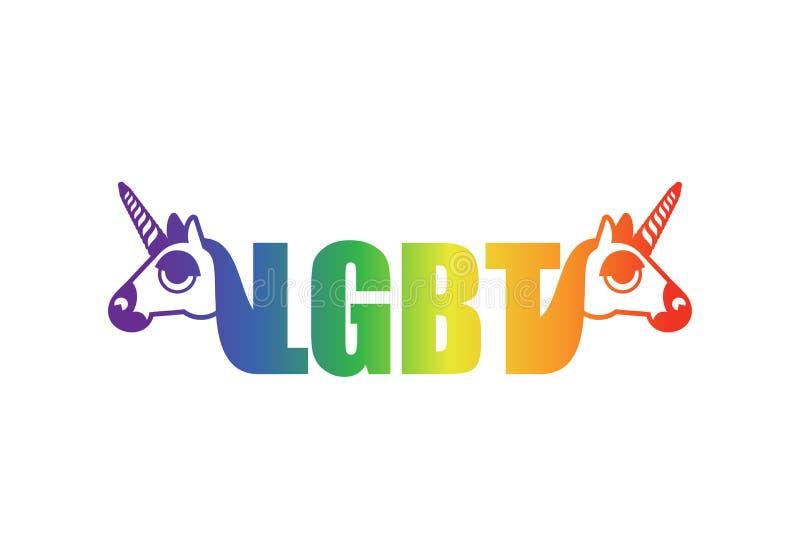 LGBT标志独角兽和彩虹 同性恋者,寒风的标志 库存例证