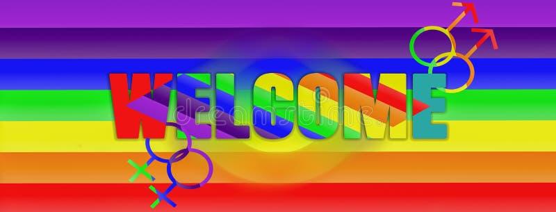 LGBT概念欢迎、权利和平等的彩虹标志包括女同性恋,快乐,两性体和变性小组,横幅 库存例证