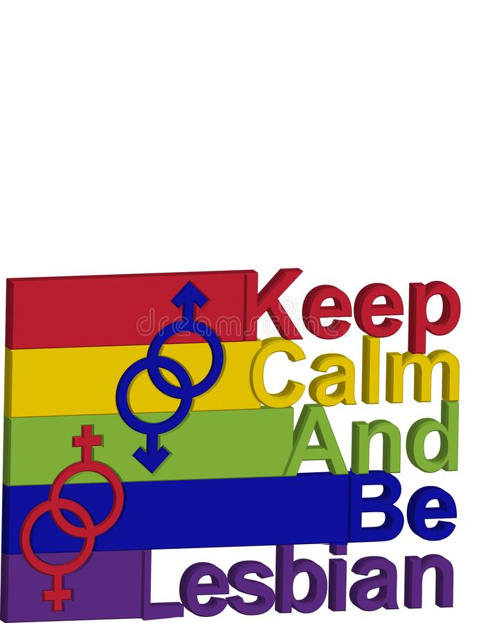 LGBT概念,在彩虹的颜色的刺激词组 保留安静并且是你自己 皇族释放例证