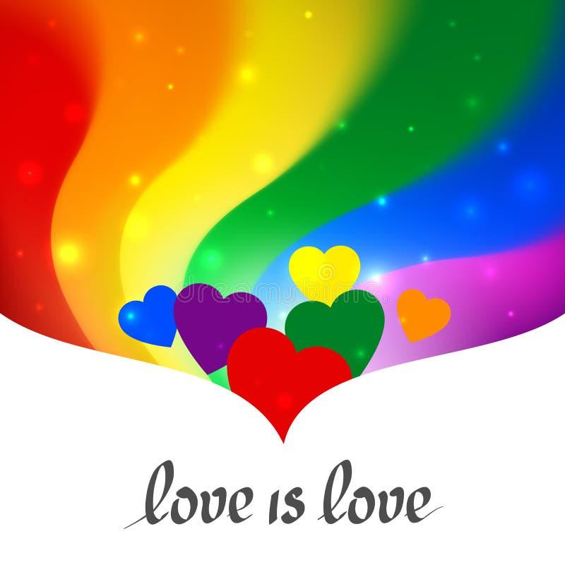 LGBT概念-在自豪感lgbtq旗子颜色的心形充满文本爱是爱 彩虹背景 多色快乐女同性恋者海报 库存例证