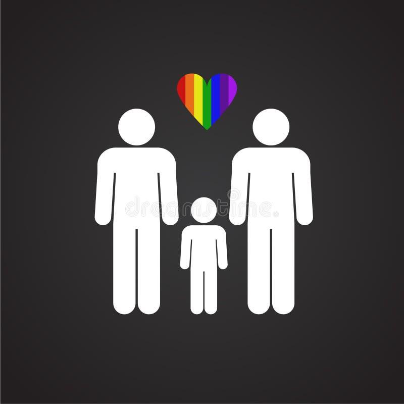 LGBT男性加上在黑背景的男性家庭 库存例证