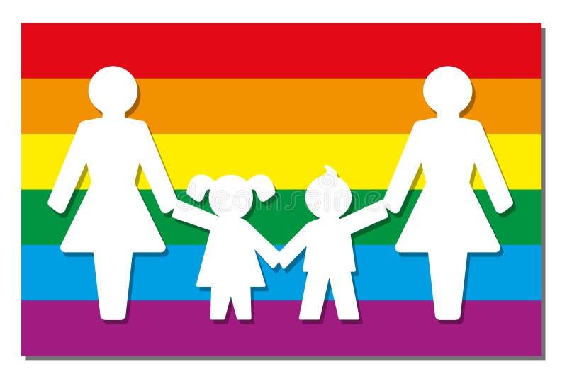 LGBT育儿自豪感旗子象妈妈 向量例证