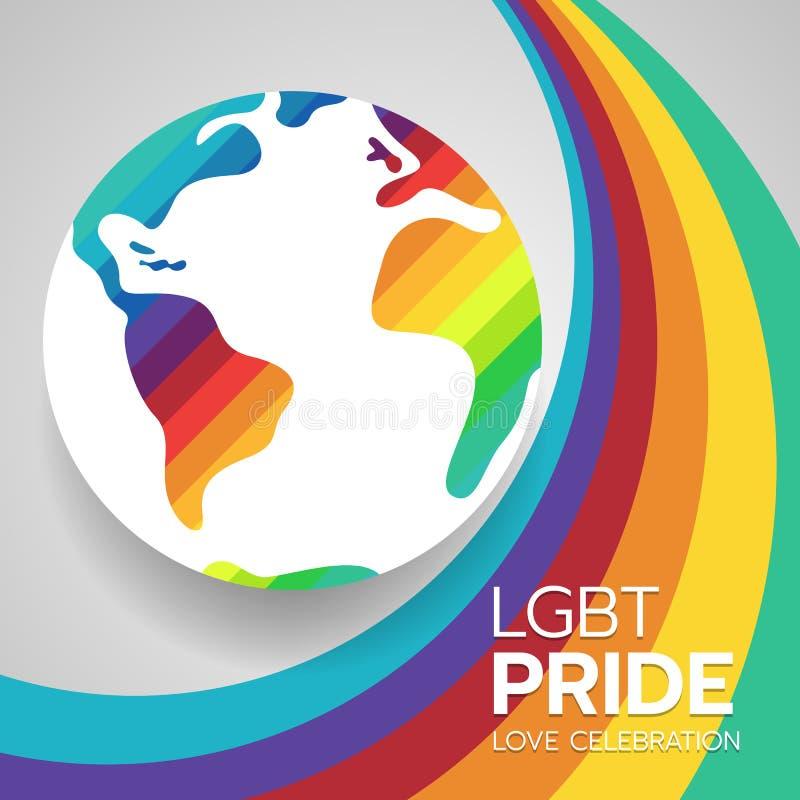 LGBT自豪感与raingbow地球标志的横幅概念在抽象彩虹波浪背景传染媒介设计 向量例证