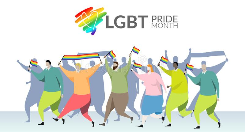 LGBT自豪感月概念 游行参加者在手中挥动一面快乐彩虹旗子在LGBT同性恋自豪日在街道上的游行节日, 皇族释放例证