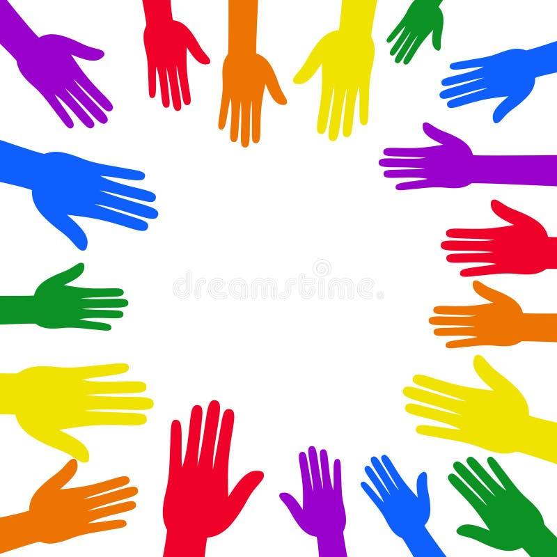 LGBT自豪感横幅用在圈子框架和彩虹旗子设计附近的五颜六色的手 向量例证