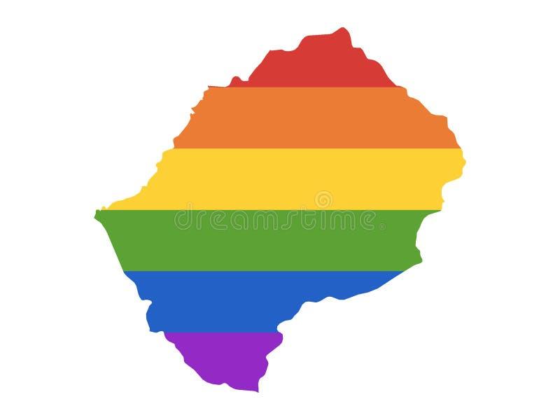 LGBT莱索托的彩虹地图 向量例证