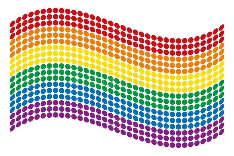 LGBT运动的被加点的挥动的同性恋自豪日旗子 库存例证