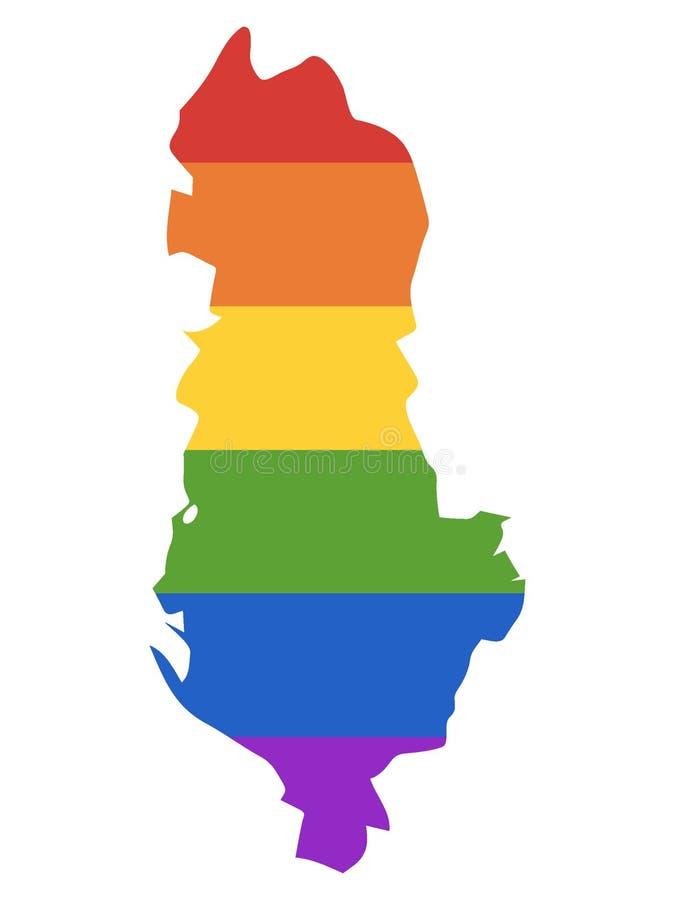 LGBT阿尔巴尼亚的彩虹地图 向量例证