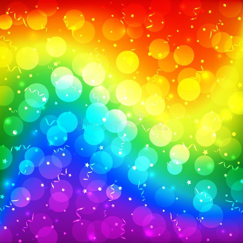 LGBT颜色迷离bokeh欢乐背景,明亮的设计的彩虹五颜六色的抽象图表 快乐女同性恋的变性彩虹 向量例证