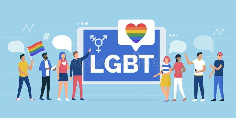 LGBT выпрямляет парад и интернет-сообщество бесплатная иллюстрация