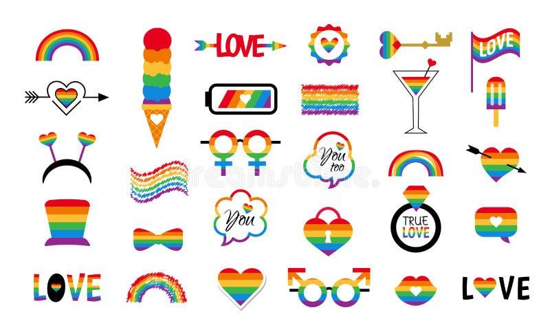 LGBT — wektor ikony ustawia dumę — tęcza zdjęcia royalty free