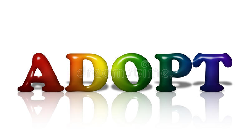 LGBT adoption. Word Adopt in 3D LGBT flag colors over white with copy-space, LGBT adoption stock illustration