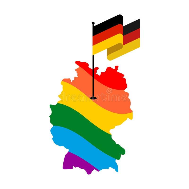 LGBT Alemania Mapa de Deutschland y de la bandera Countr de la unión europea stock de ilustración