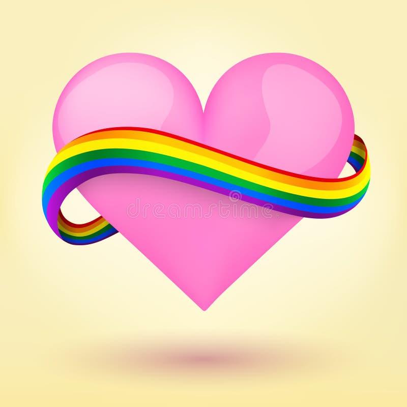 LGBT-bakgrundshjärta och regnbågeband. vektor illustrationer