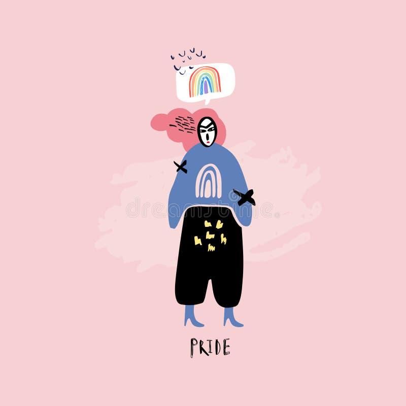 LGBT-begrepp Klottra den färgrika illustrationen för stil vektor illustrationer