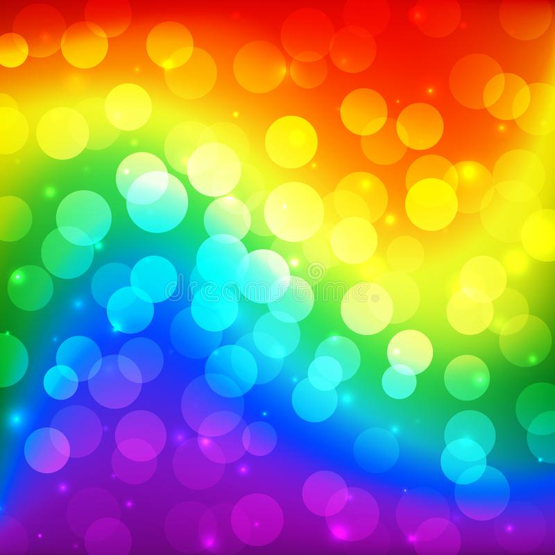 LGBT color blur bokeh festive background, rainbow colorful abstract graphic for bright design. Gay lesbian transgender rainbow stock illustration