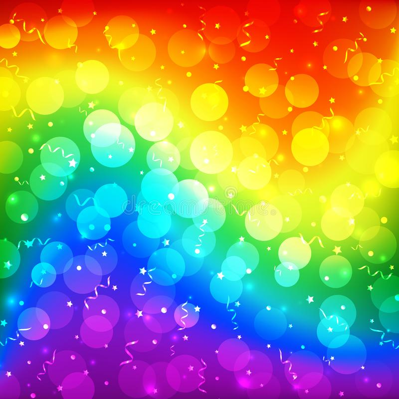 LGBT color blur bokeh festive background, rainbow colorful abstract graphic for bright design. Gay lesbian transgender rainbow vector illustration