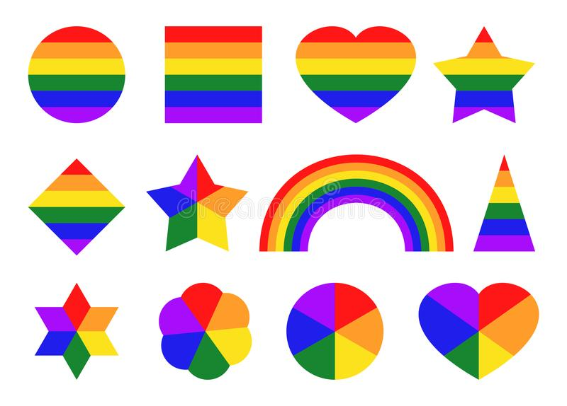 Pride color icons vector illustration