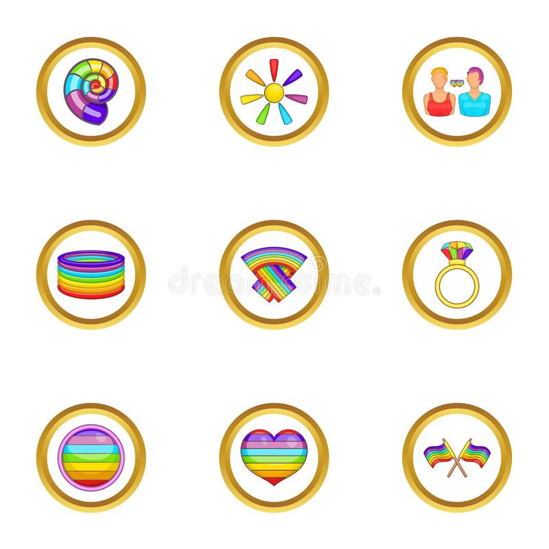 Lgbt community icons set, cartoon style. Lgbt community icons set. Cartoon set of 9 lgbt community vector icons for web isolated on white background stock illustration