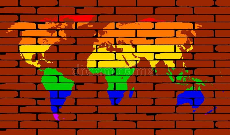 LGBT-de Achtergrond van de de RegenboogBakstenen muur van de Wereldkaart stock illustratie