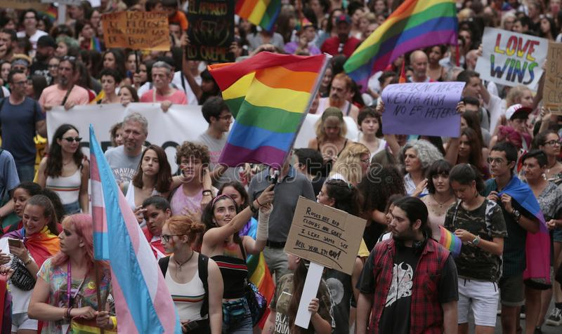 LGBT dumy świętowania w Mallorca ogólnym widoku obrazy royalty free