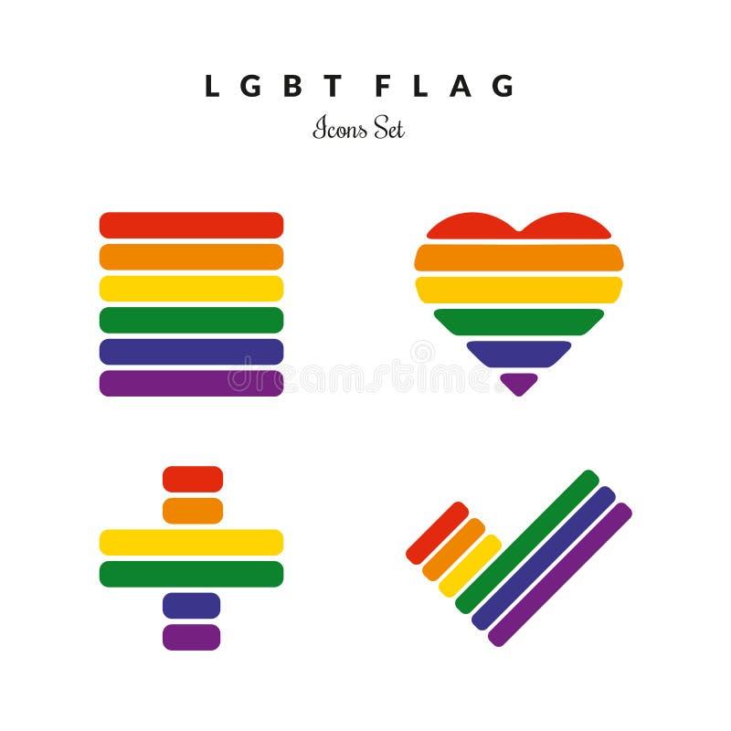LGBT dumy flaga tęczy ikony royalty ilustracja