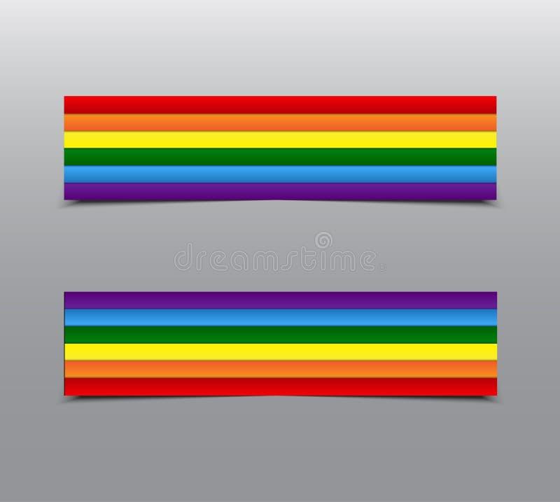 LGBT dumy tęczy majchery, etykietka, etykietka, karta royalty ilustracja