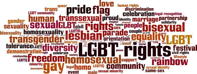 LGBT endireita a nuvem da palavra ilustração do vetor