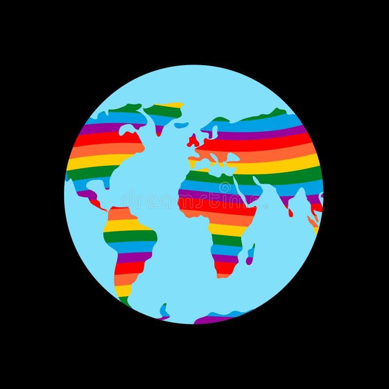 LGBT-Erde Planetenfestland und homosexuelle Flaggenregenbogenfarben stock abbildung