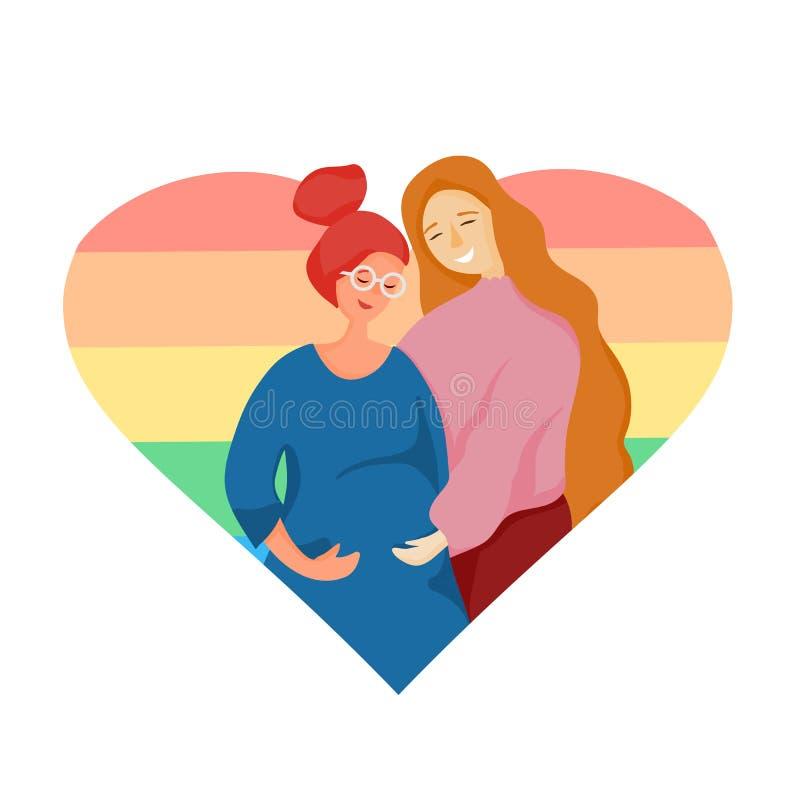 LGBT-familjen, lesbiska par som väntar på a, behandla som ett barn, barnet Gravid lesbisk kvinna vektor illustrationer