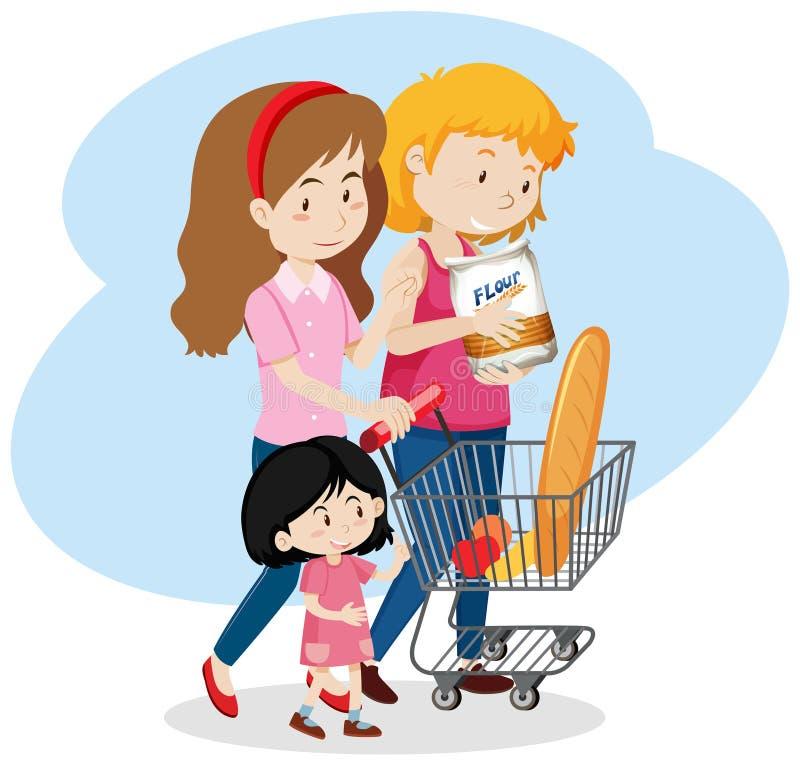 LGBT Family go to Shopping royalty free illustration