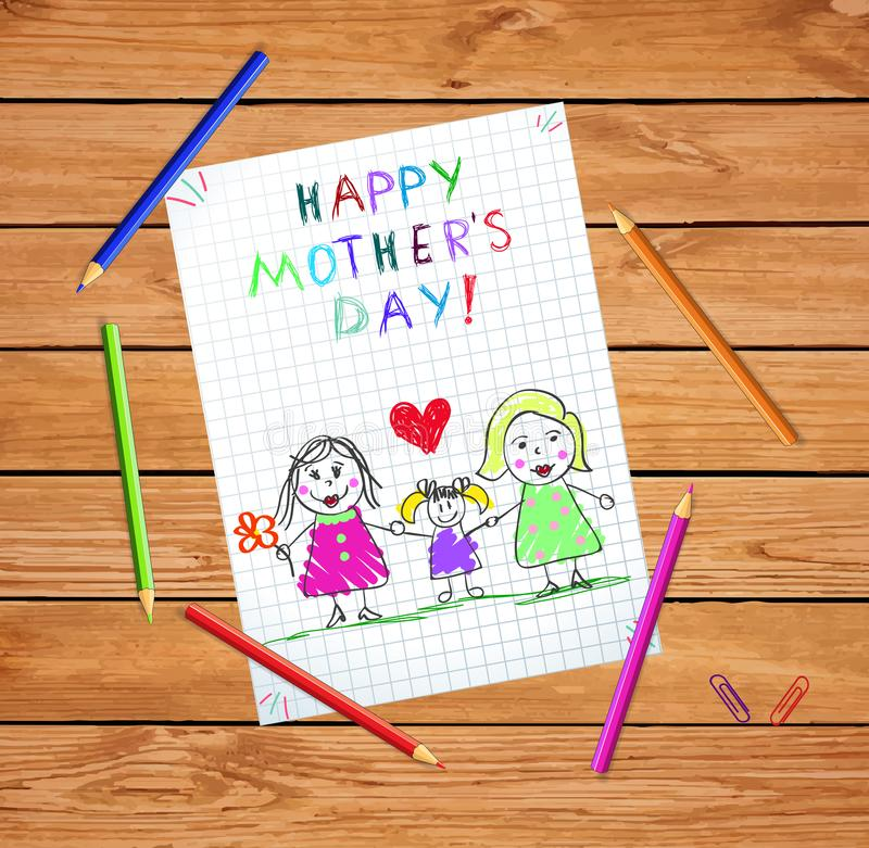 Lgbt Family. Happy Mothers Day Baby Kids Drawing. Happy Mothers Day Kids Drawing. Homosexual Lgbt Family with Daughter. Couple of Women with Adopted Girl on vector illustration