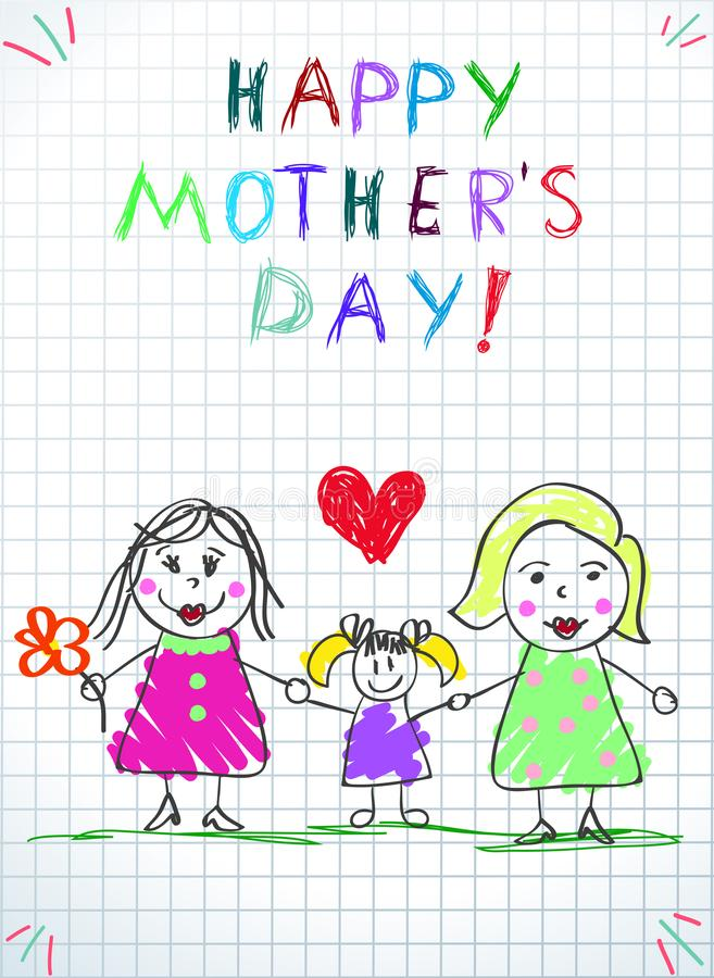 Lgbt Family. Happy Mothers Day Children Drawing. Two Women with Adopted Girl and Red Heart Stand on Green Grass on Checkered Paper Background. Baby stock illustration