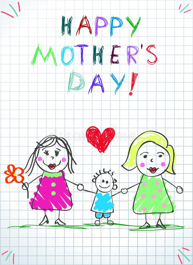 Lgbt Family. Happy Mothers Day Women, Adopted Boy. Lgbt Family. Happy Mothers Day Children Drawing. Two Women with Adopted Boy and Red Heart Stand on Green Grass stock illustration