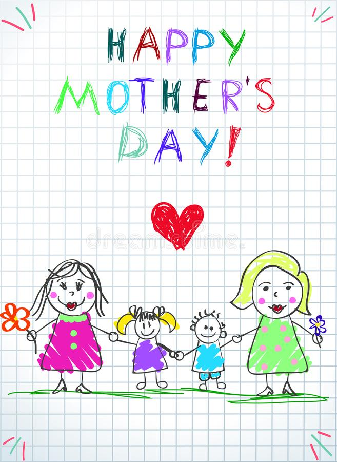 Lgbt Family. Happy Mothers Day, Women with Kids. Lgbt Family. Happy Mothers Day Kids Drawing. Two Women with Adopted Girl and Boy Stand on Green Grass on vector illustration