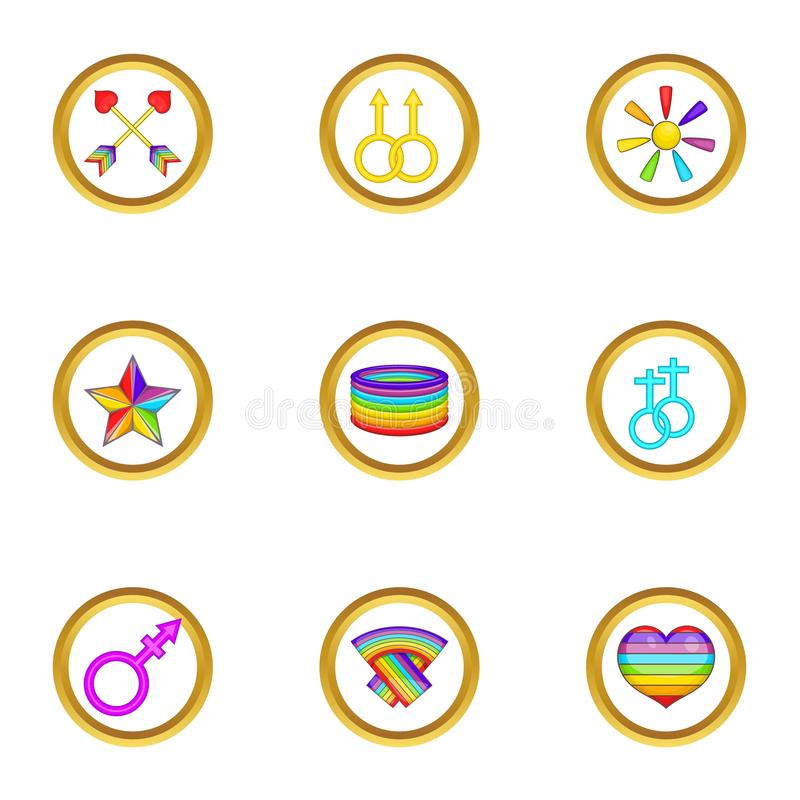 Lgbt festival icons set, cartoon style. Lgbt festival icons set. Cartoon set of 9 lgbt festival vector icons for web isolated on white background royalty free illustration