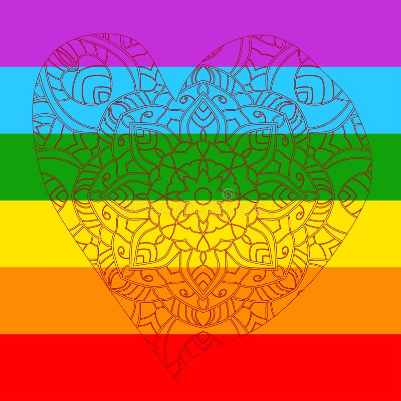 LGBT flag with design mandala heart happy valenetines day vector illustration
