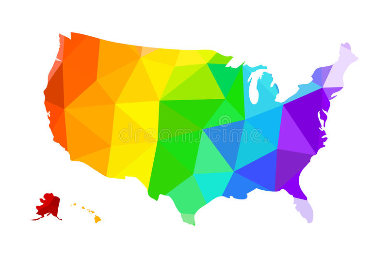 The LGBT flag in the form of a map of the United States of America royalty free illustration