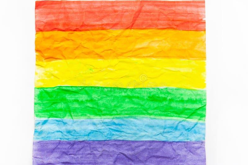 LGBT flag on white  paper. LGBT flag on white crumpled paper stock photos