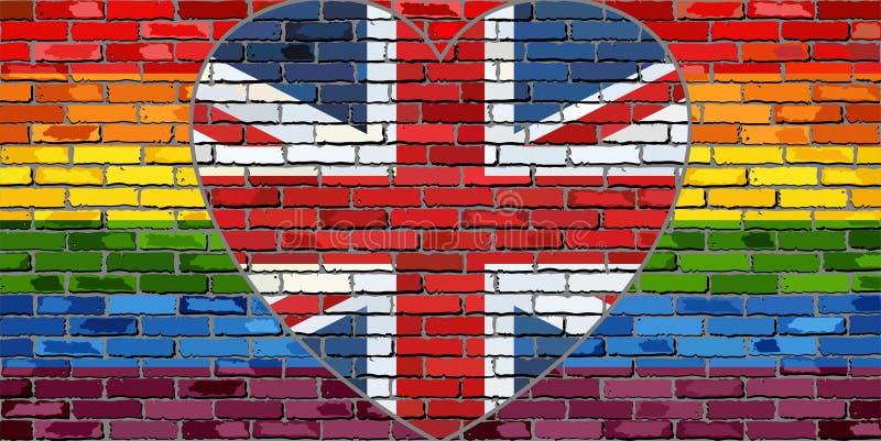 LGBT flaga na ściana z cegieł z Wielkim Brytania sercem royalty ilustracja