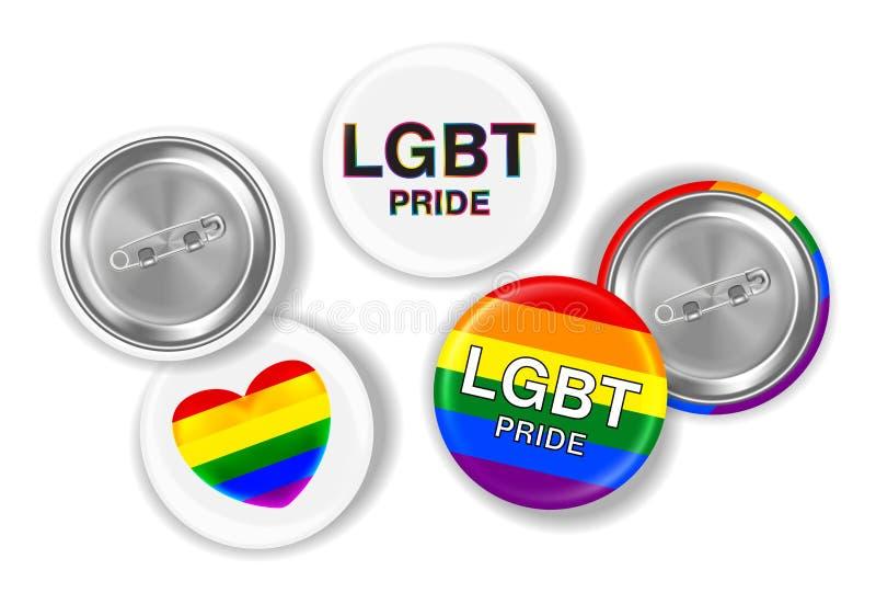 LGBT flaga na stali i duma przyczepiamy broszkę ilustracji