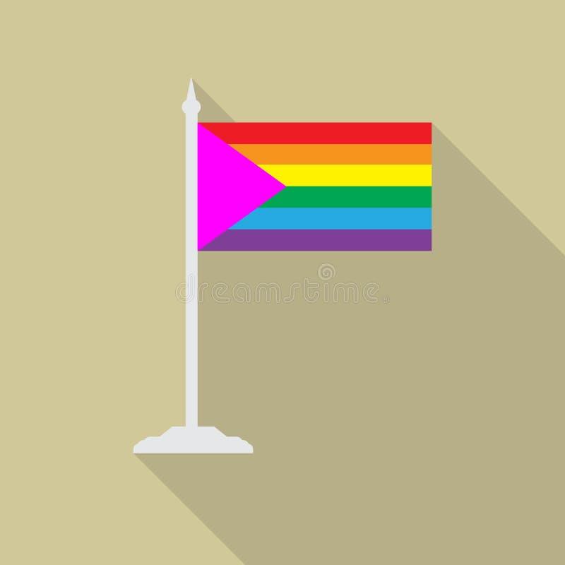 LGBT flaga z różowym trójbokiem z flagpole płaską ikoną z długim cieniem Wektorowa ilustracja EPS10 tęczy dumy flaga ilustracja wektor