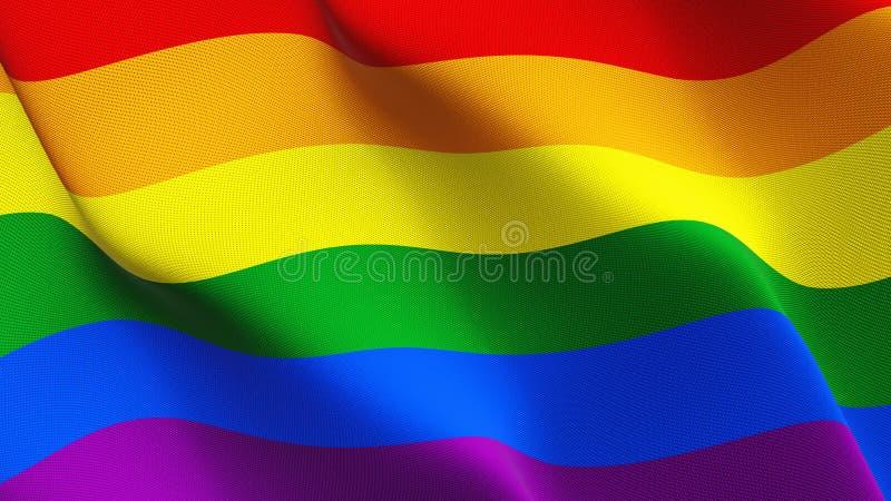 LGBT-flagga som vinkar på vind royaltyfri illustrationer