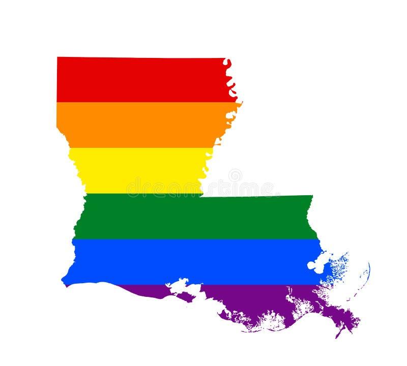 LGBT flagi mapa Wektorowa tęczy mapa w kolorach LGBT lesbian, homoseksualisty, biseksualnej i transgender dumy flaga, ilustracja wektor