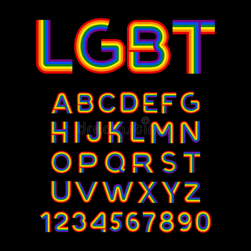 Lgbt Font Rainbow Letters Abc For Symbol Of Gays And Lesbians