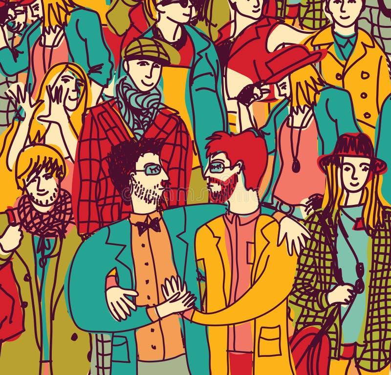 Lgbt gay de los pares y gente de la muchedumbre que sale stock de ilustración
